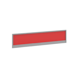 Nobis Office Furniture - Straight glazed desktop screen 1600mm x 380mm - chili red with silver aluminium frame