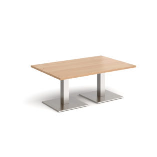 Nobis Office Furniture - Brescia rectangular coffee table with flat square brushed steel bases 1200mm x 800mm - beech