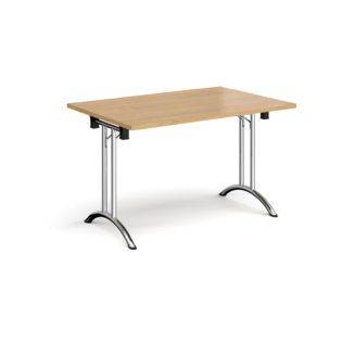 Nobis Office Furniture - Rectangular folding leg table with chrome legs and curved foot rails 1200mm x 800mm - oak