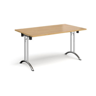 Nobis Office Furniture - Rectangular folding leg table with chrome legs and curved foot rails 1400mm x 800mm - oak