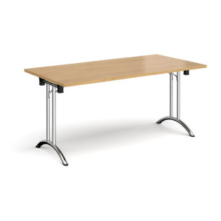 Nobis Office Furniture - Rectangular folding leg table with chrome legs and curved foot rails 1600mm x 800mm - oak