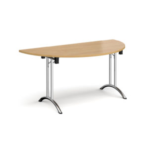 Nobis Office Furniture - Semi circular folding leg table with chrome legs and curved foot rails 1600mm x 800mm - oak