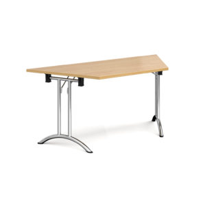 Nobis Office Furniture - Trapezoidal folding leg table with chrome legs and curved foot rails 1600mm x 800mm - oak