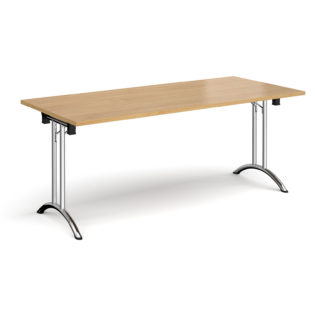Nobis Office Furniture - Rectangular folding leg table with chrome legs and curved foot rails 1800mm x 800mm - oak