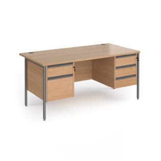 Nobis Office Furniture - Benito straight desk with 2 and 3 drawer pedestals and graphite H-Frame leg 1600mm x 800mm - beech top