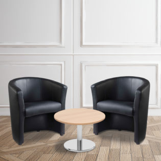 Nobis Office Furniture - Bundle deal - 2 x London tub chairs with 600mm coffee table - beech