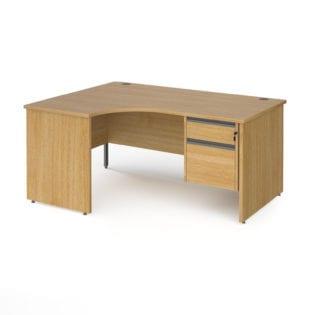 Nobis Office Furniture - Benito left hand ergonomic desk with 2 drawer graphite pedestal and panel leg 1600mm - oak