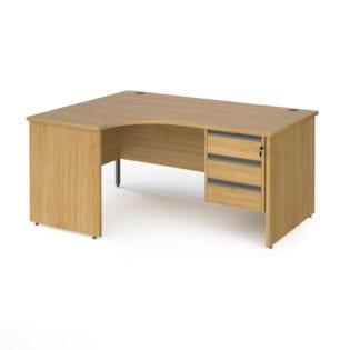 Nobis Office Furniture - Benito left hand ergonomic desk with 3 drawer graphite pedestal and panel leg 1600mm - oak