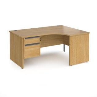 Nobis Office Furniture - Benito right hand ergonomic desk with 2 drawer graphite pedestal and panel leg 1600mm - oak