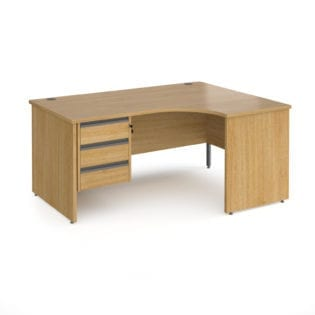 Nobis Office Furniture - Benito right hand ergonomic desk with 3 drawer graphite pedestal and panel leg 1600mm - oak