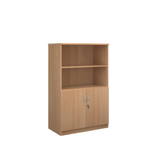 Nobis Office Furniture - Deluxe combination unit with open top 1600mm high with 3 shelves - beech