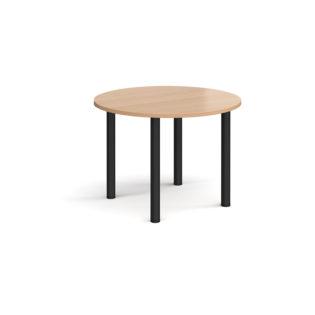 Nobis Office Furniture - Circular black radial leg meeting table 1000mm - beech
