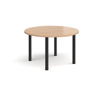Nobis Office Furniture - Circular black radial leg meeting table 1200mm - beech