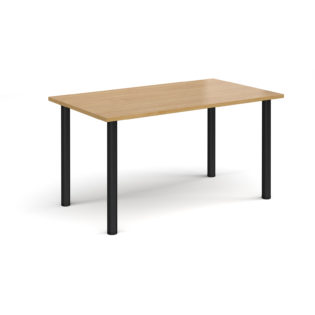 Nobis Office Furniture - Rectangular black radial leg meeting table 1400mm x 800mm - oak