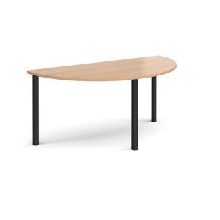 Nobis Office Furniture - Semi circular black radial leg meeting table 1600mm x 800mm - beech