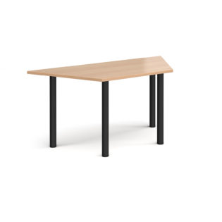 Nobis Office Furniture - Trapezoidal black radial leg meeting table 1600mm x 800mm - beech