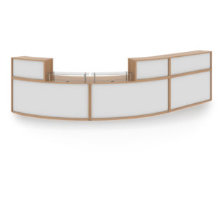 Nobis Office Furniture - Denver extra large curved complete reception unit - beech with white panels
