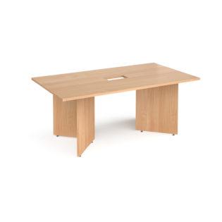 Nobis Office Furniture - Arrow head leg rectangular boardroom table 1800mm x 1000mm with central cutout 272mm x 132mm - beech