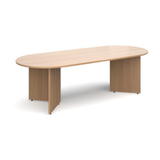 Nobis Office Furniture - Arrow head leg radial end boardroom table 2400mm x 1000mm - beech
