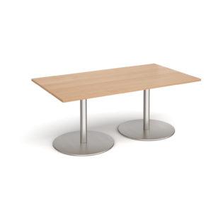 Nobis Office Furniture - Eternal rectangular boardroom table 1800mm x 1000mm - brushed steel base