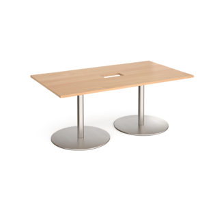 Nobis Office Furniture - Eternal rectangular boardroom table 1800mm x 1000mm with central cutout 272mm x 132mm - brushed steel base