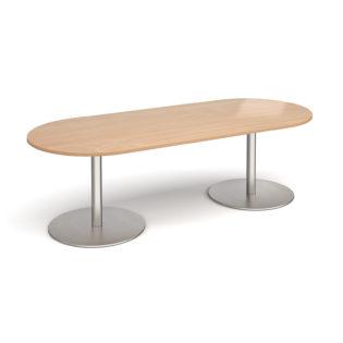 Nobis Office Furniture - Eternal radial end boardroom table 2400mm x 1000mm - brushed steel base