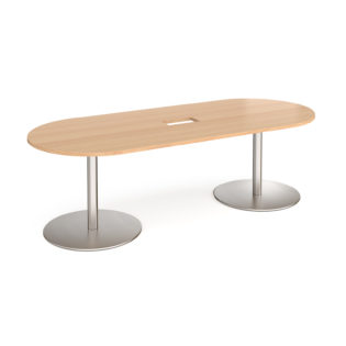 Nobis Office Furniture - Eternal radial end boardroom table 2400mm x 1000mm with central cutout 272mm x 132mm - brushed steel base