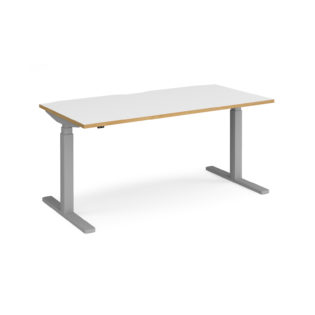 Nobis Office Furniture - Elev8 Touch straight sit-stand desk 1600mm x 800mm - silver frame