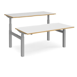 Nobis Office Furniture - Elev8 Touch sit-stand back-to-back desks 1600mm x 1650mm - silver frame