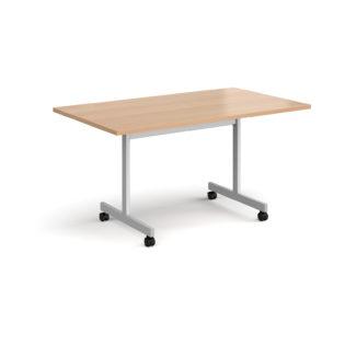 Nobis Office Furniture - Rectangular fliptop meeting table with silver frame 1400mm x 800mm - beech