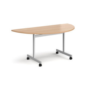 Nobis Office Furniture - Semi circular fliptop meeting table with silver frame 1600mm x 800mm - beech