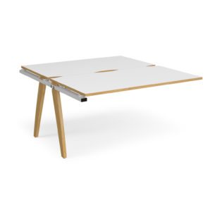 Nobis Office Furniture - Contempo Bench Desk add on units back to back 1400mm x 1600mm - white frame