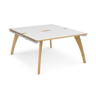 Nobis Office Furniture - Contempo Bench Desk starter units back to back 1400mm x 1600mm - white frame
