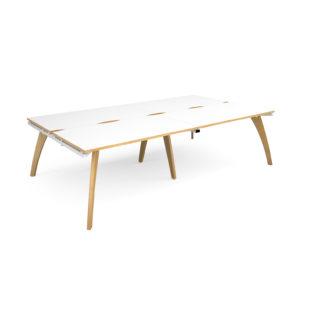 Nobis Office Furniture - Contempo Bench Desk double Sit Stand Desks 2800mm x 1600mm - white frame