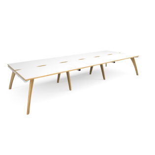 Nobis Office Furniture - Contempo Bench Desk triple Sit Stand Desks 4200mm x 1600mm - white frame