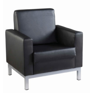 Nobis Office Furniture - Helsinki square back reception single tub chair 800mm wide - black leather faced