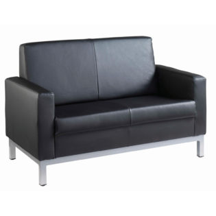 Nobis Office Furniture - Helsinki square back reception 2 seater chair 1340mm wide - black leather faced