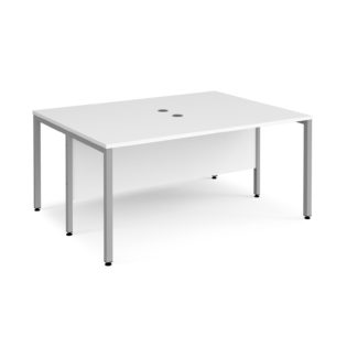 Nobis Office Furniture - Porto 25 back to back Rectangular Desks 1600mm x 1200mm - silver bench leg frame