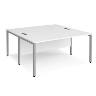 Nobis Office Furniture - Porto 25 back to back Rectangular Desks 1600mm x 1600mm - silver bench leg frame