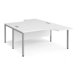 Nobis Office Furniture - Porto 25 back to back ergonomic desks 1600mm deep - silver bench leg frame