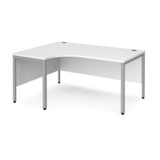 Nobis Office Furniture - Porto 25 left hand ergonomic desk 1600mm wide - silver bench leg frame