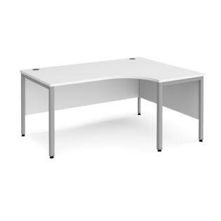 Nobis Office Furniture - Porto 25 right hand ergonomic desk 1600mm wide - silver bench leg frame