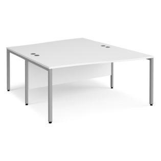 Nobis Office Furniture - Porto 25 back to back wave desks 1600mm deep - silver bench leg frame