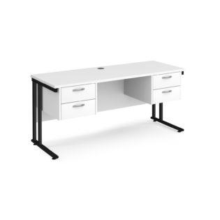 Nobis Office Furniture - Porto 25 straight desk 1600mm x 600mm with two x 2 drawer pedestals - black cantilever leg frame