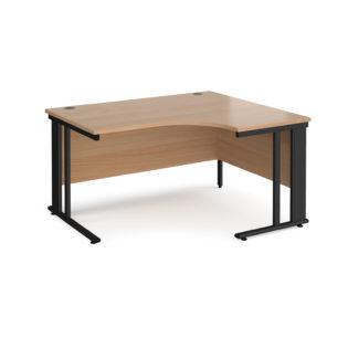 Nobis Office Furniture - Porto 25 right hand ergonomic desk 1400mm wide - black cable managed leg frame