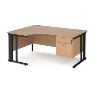 Nobis Office Furniture - Porto 25 left hand ergonomic desk 1600mm wide with 2 drawer pedestal - black cable managed leg frame