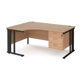 Nobis Office Furniture - Porto 25 left hand ergonomic desk 1600mm wide with 3 drawer pedestal - black cable managed leg frame