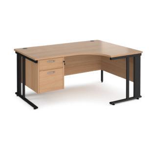 Nobis Office Furniture - Porto 25 right hand ergonomic desk 1600mm wide with 2 drawer pedestal - black cable managed leg frame