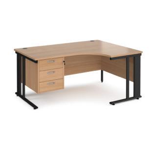 Nobis Office Furniture - Porto 25 right hand ergonomic desk 1600mm wide with 3 drawer pedestal - black cable managed leg frame