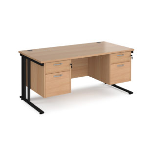 Nobis Office Furniture - Porto 25 straight desk 1600mm x 800mm with two x 2 drawer pedestals - black cable managed leg frame